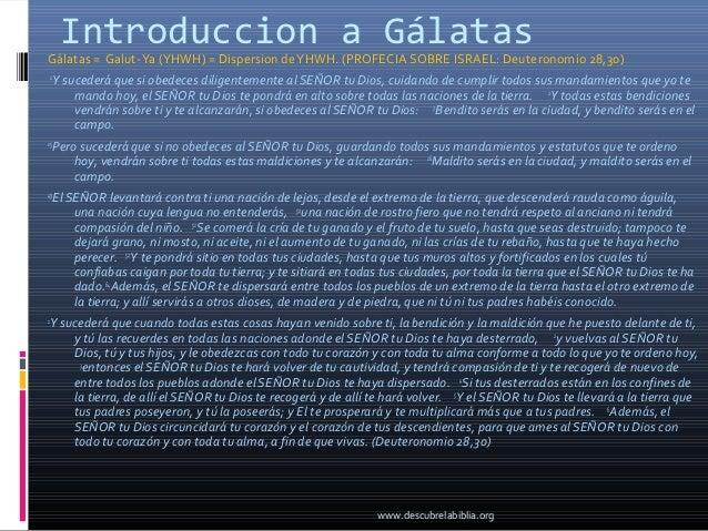 Introduccion a GálatasGálatas = Galut- Ya (YHWH) = Dispersion de YHWH. (PROFECIA SOBRE ISRAEL: Deuteronomio 28,30)    1   ...