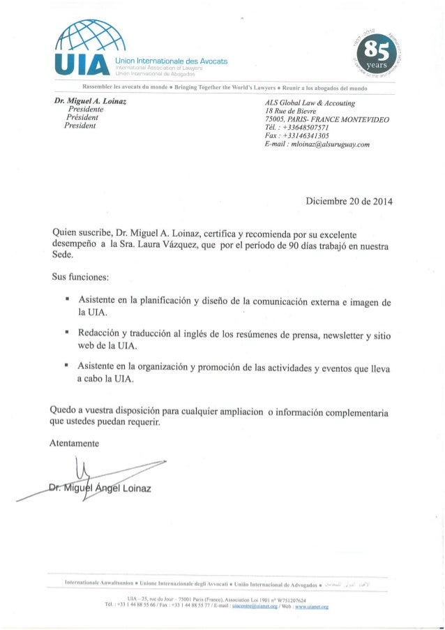Carta de recomendación laboral  del Dr. Miguel Loinaz para Laura Vázquez