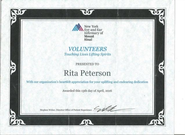Volunteer Certificate - New York Eye and Ear Infirmary of Mount Sinai