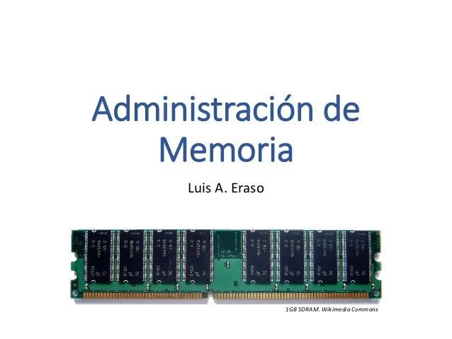 Administración de Memoria  Luis A. Eraso  1GB SDRAM. WikimediaCommons