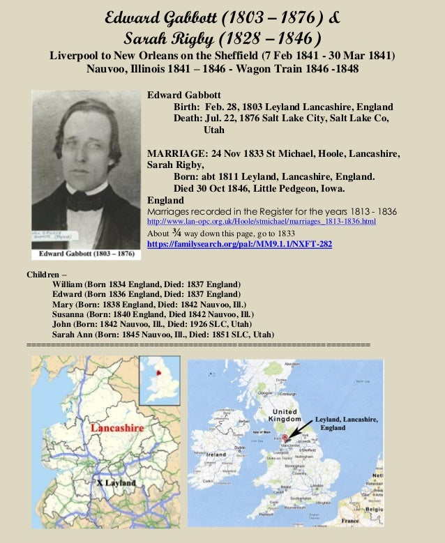 Edward Gabbott (1803 – 1876) & Sarah Rigby (1828 – 1846) Liverpool to New Orleans on the Sheffield (7 Feb 1841 - 30 Mar 18...