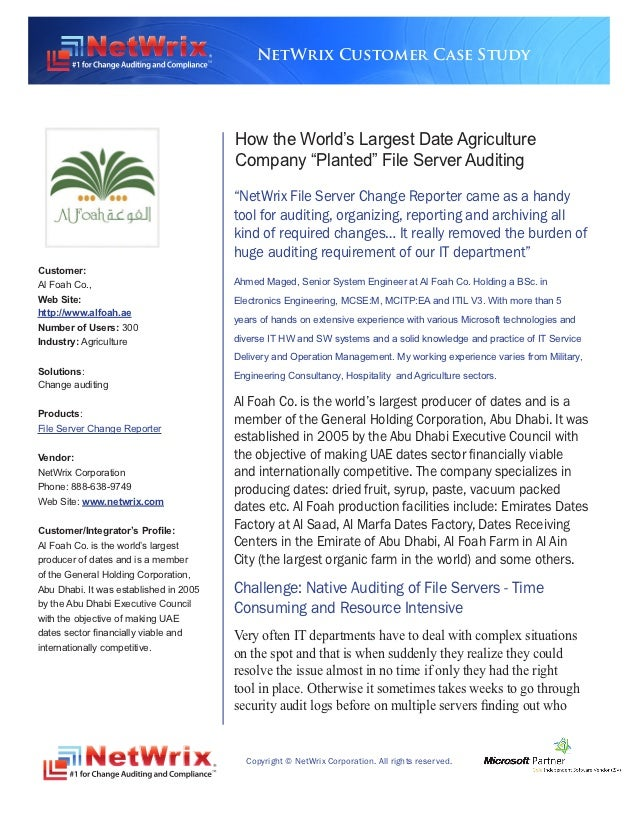 NetWrix Customer Case Study                                        How the World's Largest Date Agriculture               ...