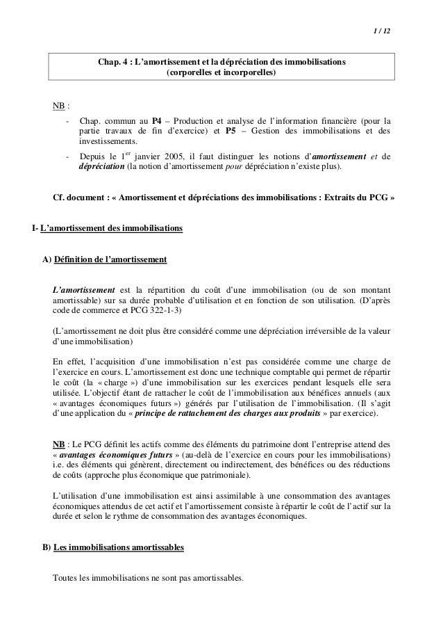 1 / 12  Chap. 4 : L'amortissement et la dépréciation des immobilisations (corporelles et incorporelles)  NB : -  Chap. com...