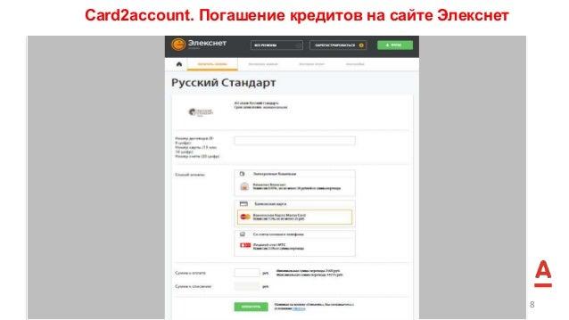 Сard2account. Погашение кредитов на сайте Элекснет 8