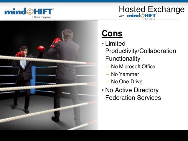 Cons • Limited Productivity/Collaboration Functionality – No Microsoft Office – No Yammer – No One Drive • No Active Direc...