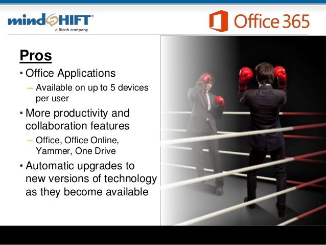 Pros • Office Applications – Available on up to 5 devices per user • More productivity and collaboration features – Office...