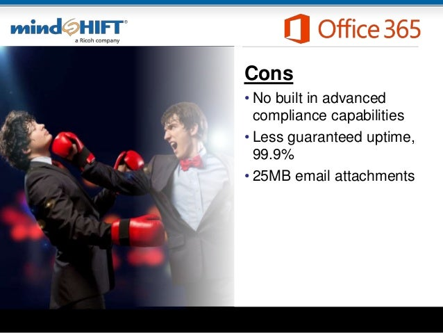 Cons • No built in advanced compliance capabilities • Less guaranteed uptime, 99.9% • 25MB email attachments