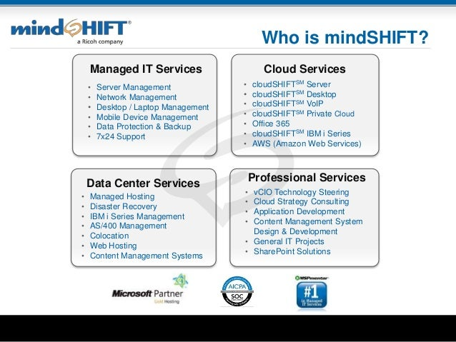 Who is mindSHIFT? • vCIO Technology Steering • Cloud Strategy Consulting • Application Development • Content Management Sy...