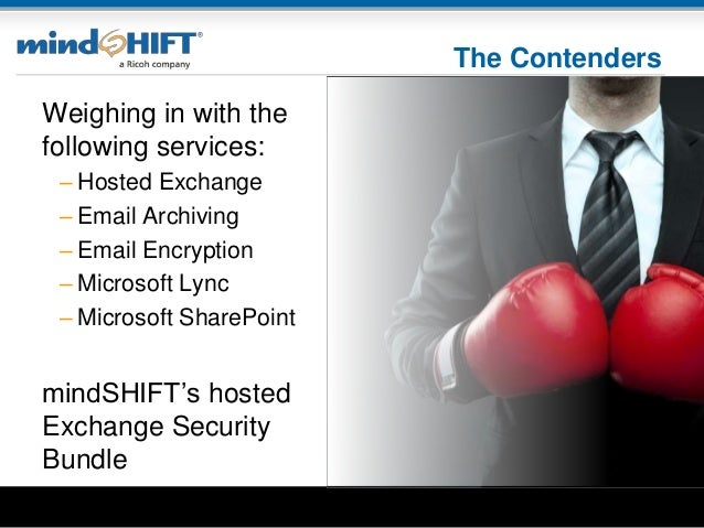 The Contenders Weighing in with the following services: – Hosted Exchange – Email Archiving – Email Encryption – Microsoft...