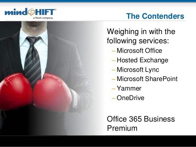 The Contenders Weighing in with the following services: – Microsoft Office – Hosted Exchange – Microsoft Lync – Microsoft ...