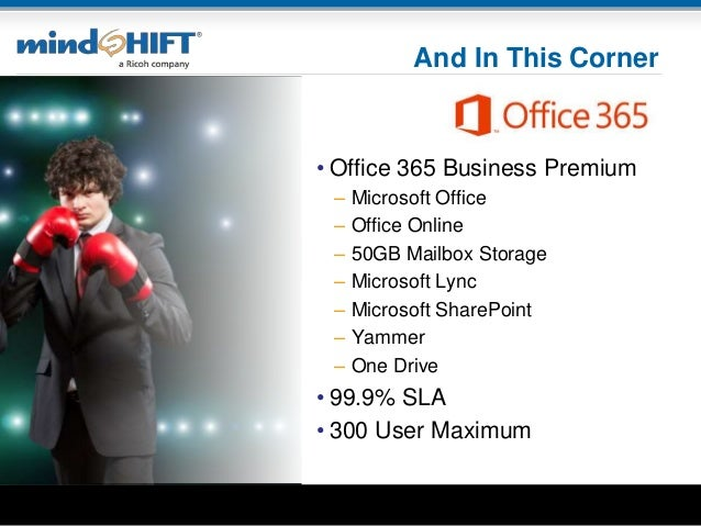 And In This Corner • Office 365 Business Premium – Microsoft Office – Office Online – 50GB Mailbox Storage – Microsoft Lyn...