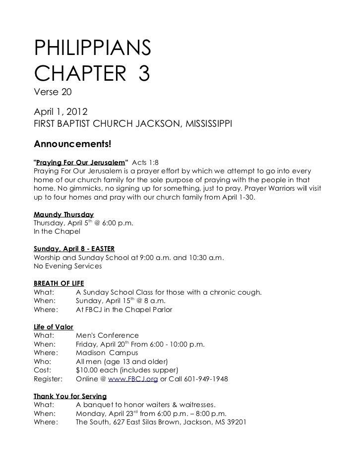 "PHILIPPIANSCHAPTER 3Verse 20April 1, 2012FIRST BAPTIST CHURCH JACKSON, MISSISSIPPIAnnouncements!""Praying For Our Jerusalem..."