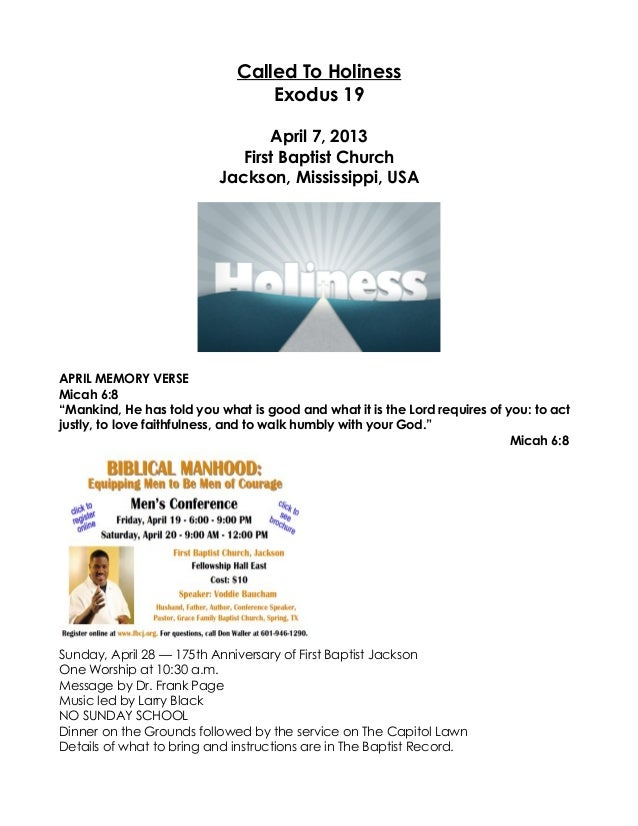 Called To Holiness                                 Exodus 19                                 April 7, 2013                ...