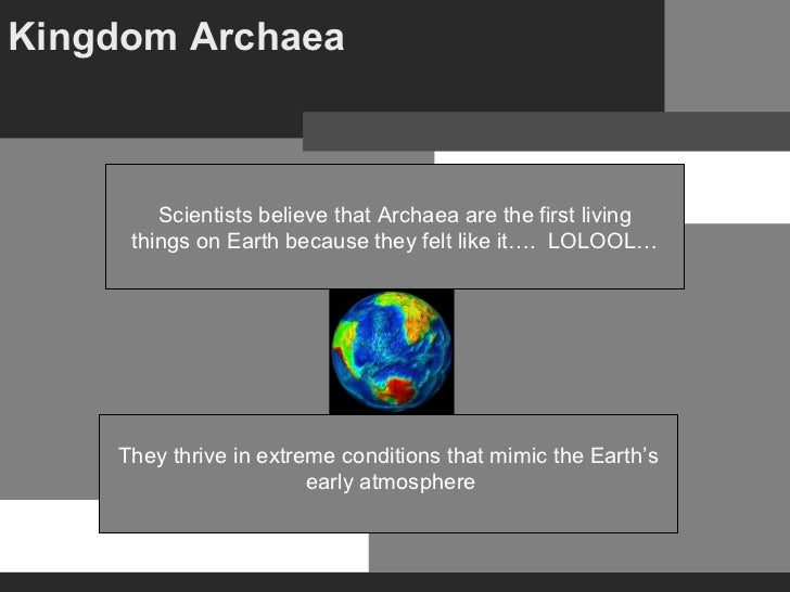 Kingdom Archaea      They thrive in extreme conditions that mimic the Earth's early atmosphere Scientists believe that Arc...