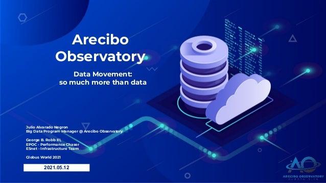 Arecibo Observatory Data Movement: so much more than data 2021.05.12 Julio Alvarado Negron Big Data Program Manager @ Arec...