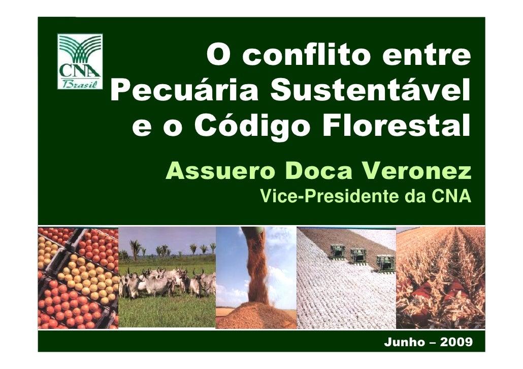 O conflito entre Pecuária Sustentável  e o Código Florestal    Assuero Doca Veronez          Vice-Presidente da CNA       ...