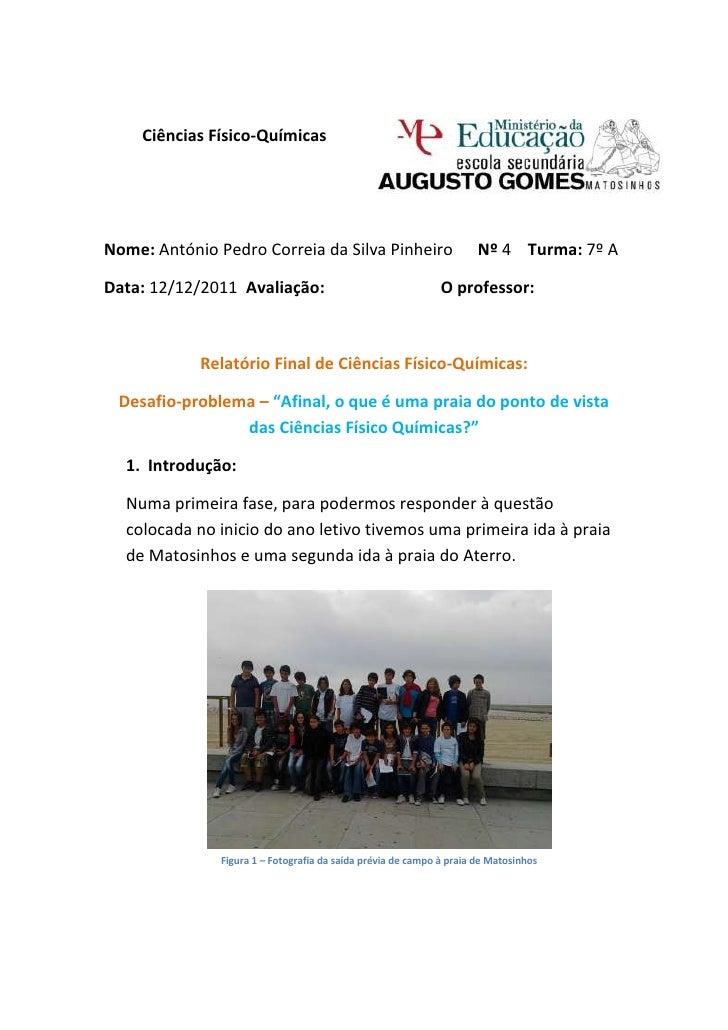 Ciências Físico-QuímicasNome: António Pedro Correia da Silva Pinheiro                         Nº 4 Turma: 7º AData: 12/12/...