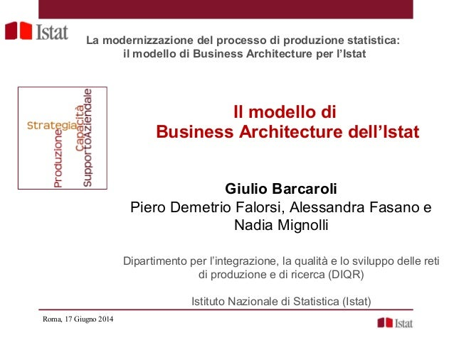 Il modello di Business Architecture dell'Istat Giulio Barcaroli Piero Demetrio Falorsi, Alessandra Fasano e Nadia Mignolli...