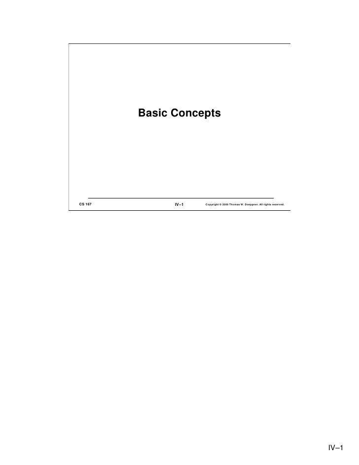 Basic Concepts     CS 167         IV–1   Copyright © 2006 Thomas W. Doeppner. All rights reserved.                        ...