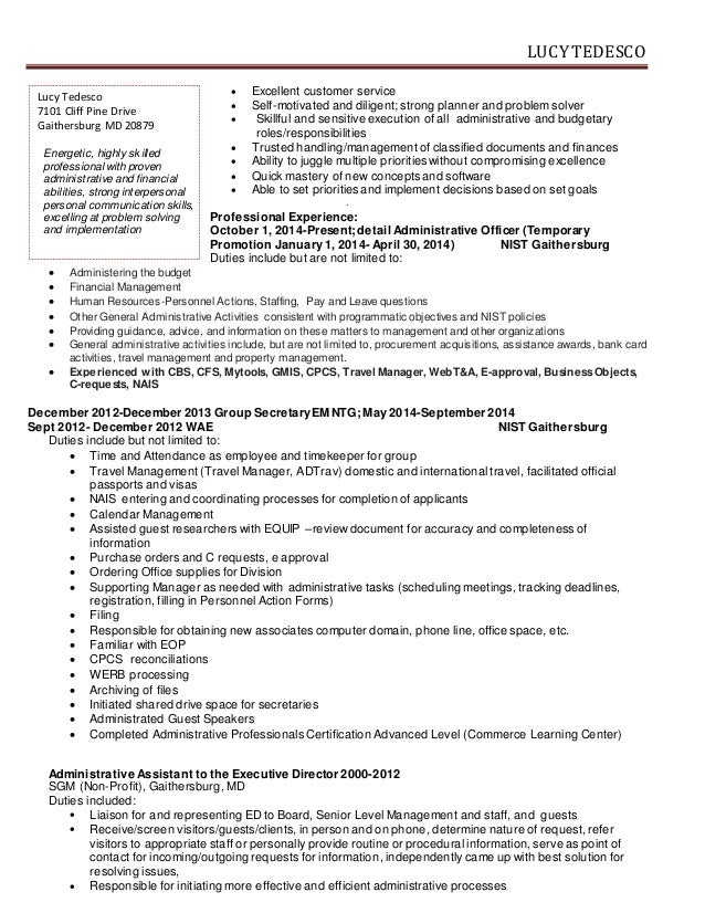 Resume For Administrative Officer. administrative objective resume ...