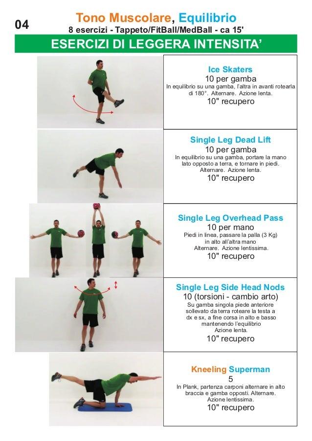 04  Tono Muscolare, Equilibrio 8 esercizi - Tappeto/FitBall/MedBall - ca 15'  ESERCIZI DI LEGGERA INTENSITA' Ice Skaters 1...