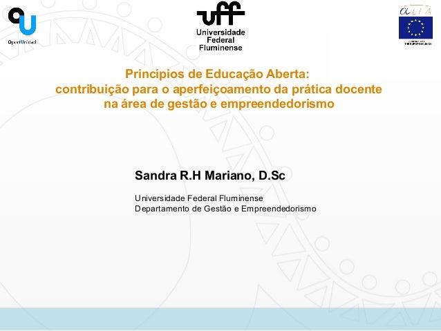 Princípios de Educação Aberta: contribuição para o aperfeiçoamento da prática docente na área de gestão e empreendedorismo...
