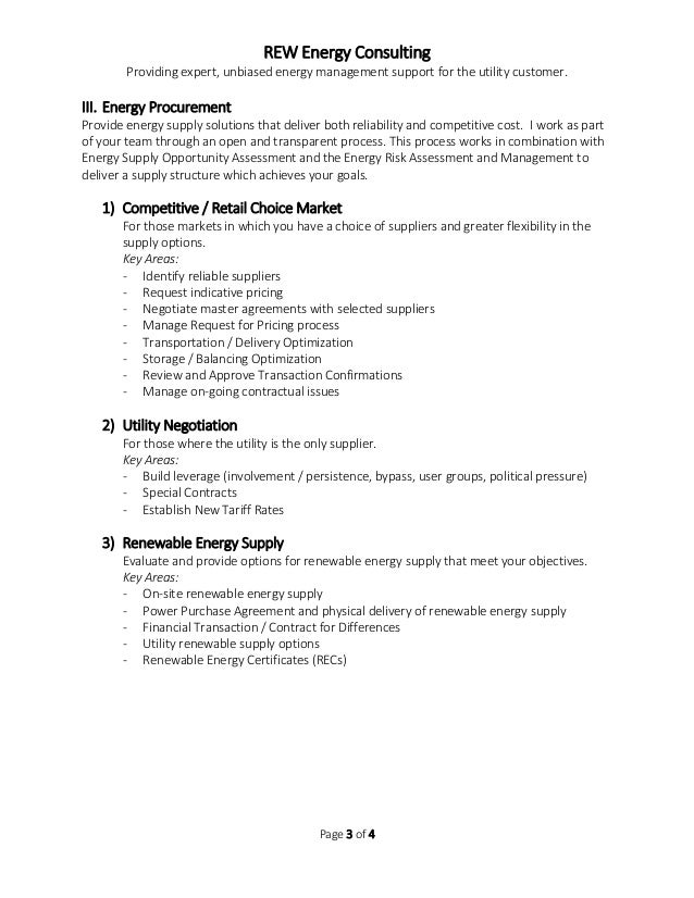 Rew Energy Consulting  Service Description