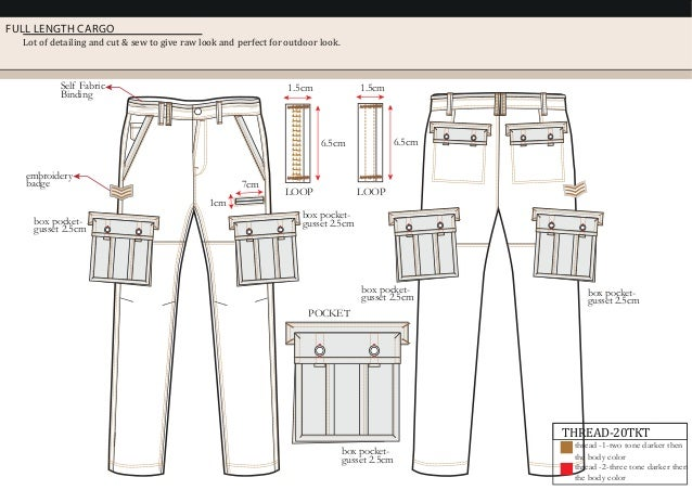FULL LENGTH CARGO Lot of detailing and cut & sew to give raw look and perfect for outdoor look. 7cm 1cm POCKET LOOP 1.5cm ...