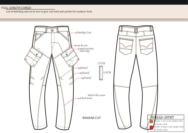 FULL LENGTH CARGO Lot of detailing and cut & sew to give raw look and perfect for outdoor look. 1.5CM 6.5CM sifted side se...