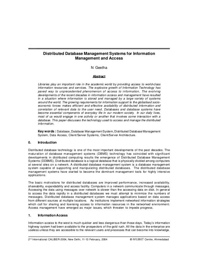 464           Distributed Database Management Systems for Information                            Management and Access    ...