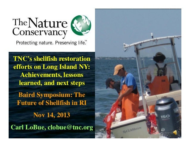 TNC's shellfish restoration efforts on Long Island NY: Achievements, lessons learned, and next steps Baird Symposium: The ...
