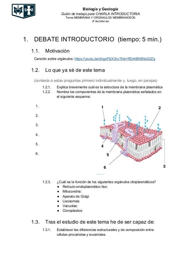 Biología y Geología Guión de trabajo para CHARLA INTRODUCTORIA Tema MEMBRANA Y ORGÁNULOS MEMBRANOSOS 2º Bachillerato 1. DE...