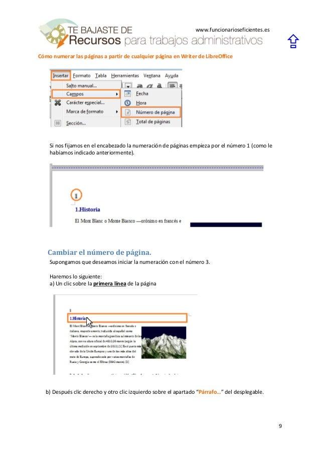Cómo numerar las páginas a partir de cualquier página en writer de li…