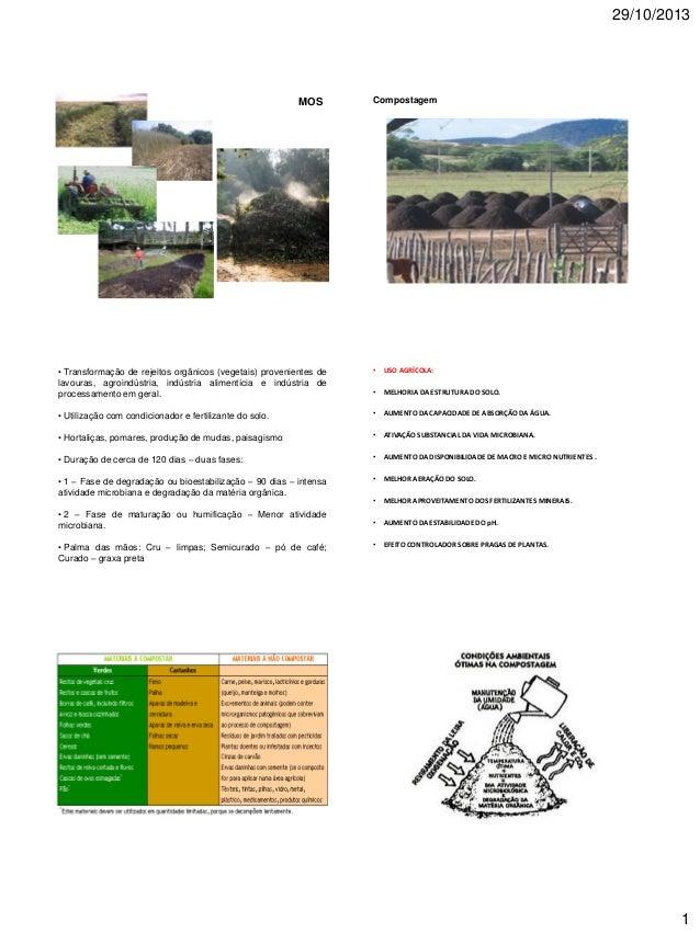 29/10/2013  MOS  Compostagem  • Transformação de rejeitos orgânicos (vegetais) provenientes de lavouras, agroindústria, in...