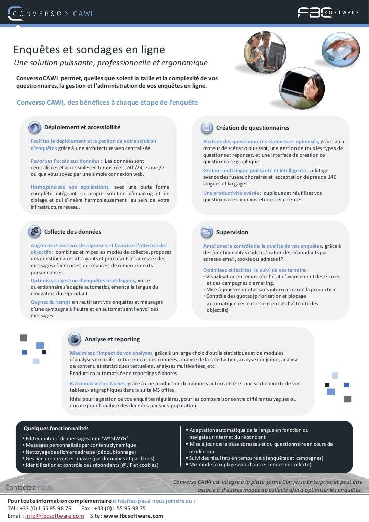 Enquêtes et sondages en ligne  Une solution puissante, professionnelle et ergonomique   Converso CAWI permet, quelles que ...