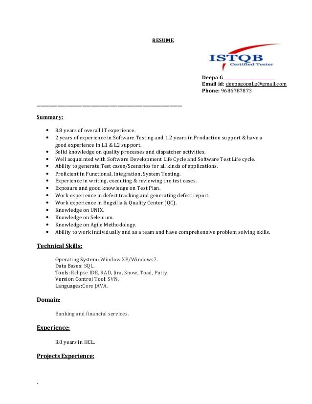 what to put on a resume deepa resume manual testing 2 years exp updated 1042