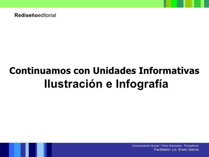 Rediseño editorial Comunicación Social / 10mo Semestre - Periodismo Facilitador: Lic. Erwin García Continuamos con Unidade...