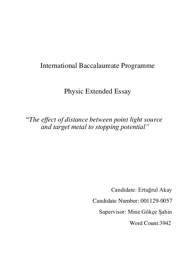 "ib physic extended essay international baccalaureate programme physic extended essay ""the effect of distance between point light source and abstract"