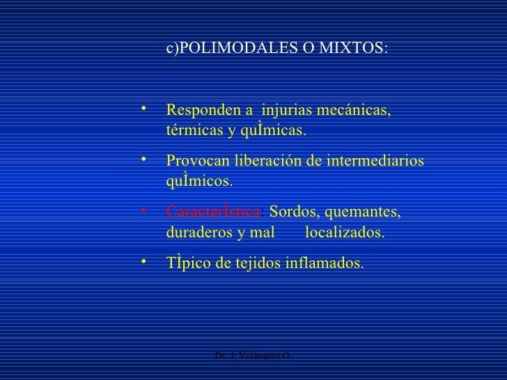 Dr. J. Velásquez G. <ul><li>c)POLIMODALES O MIXTOS: </li></ul><ul><li>Responden a  injurias mecánicas,  térmicas y química...