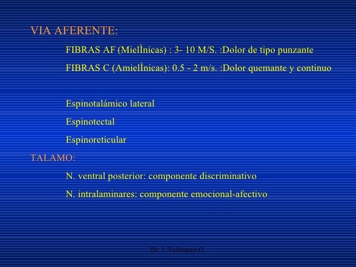 Dr. J. Velásquez G. VIA AFERENTE: FIBRAS A   (Mielínicas) : 3- 10 M/S. :Dolor de tipo punzante FIBRAS C (Amielínicas): 0....