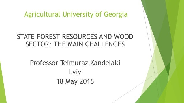 Agricultural University of Georgia STATE FOREST RESOURCES AND WOOD SECTOR: THE MAIN CHALLENGES Professor Teimuraz Kandelak...