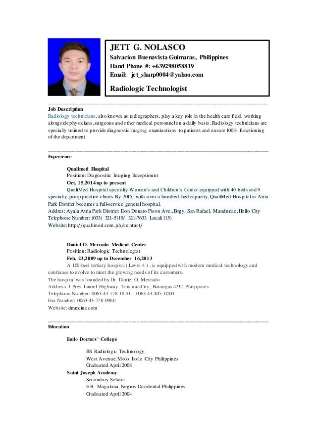 Resume Example For A Radiologic Technologist Susan Ireland Resumes