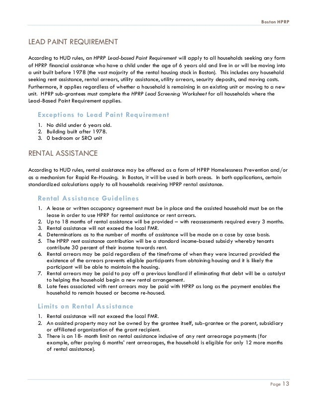 Boston HPRP Guidance 5 10 10TOC – Rental Assistance Form