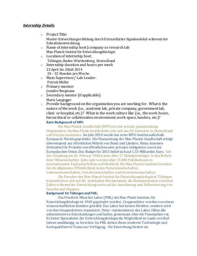 Internship Details o Project Title: Muster-Entwicklungen Bildung durch Extrazelluläre Signalmolekül während der Zebrafishe...