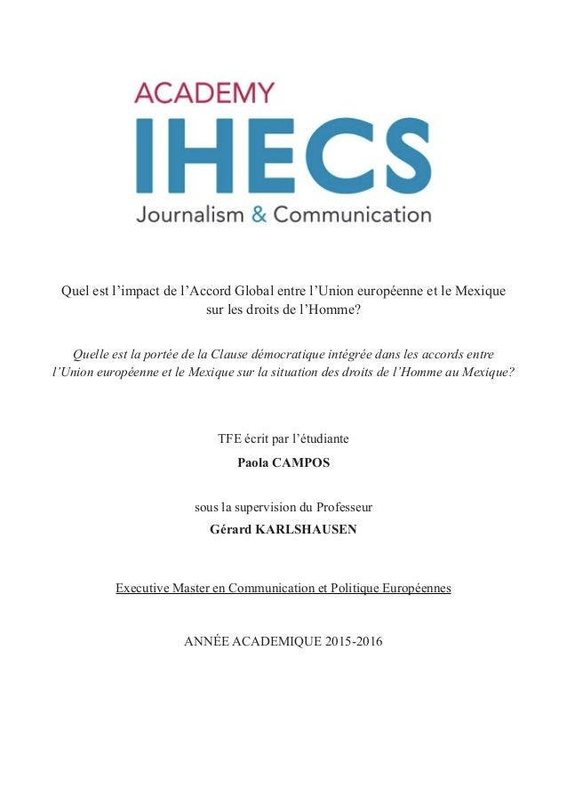 Quel est l'impact de l'Accord Global entre l'Union européenne et le Mexique sur les droits de l'Homme? Quelle est la porté...