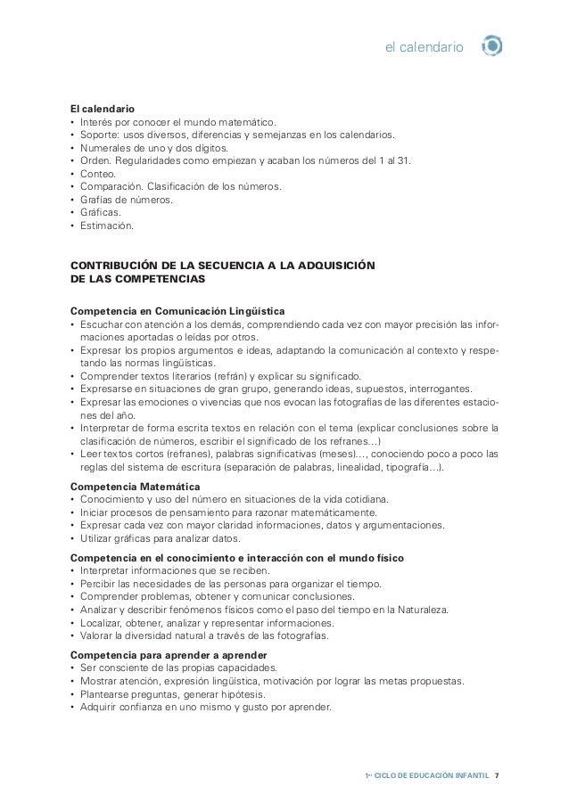 1er CICLO de EDUCACIÓN INFANTIL 8 el calendario Competencia social y ciudadana • Cooperar y convivir en las diferentes ac...