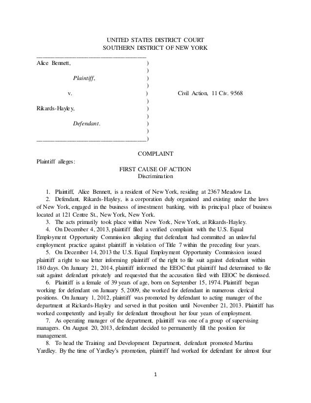 LEGL Civil Litigation Complaint. 1 UNITED STATES DISTRICT COURT SOUTHERN  DISTRICT OF NEW YORK  Civil Complaint Template