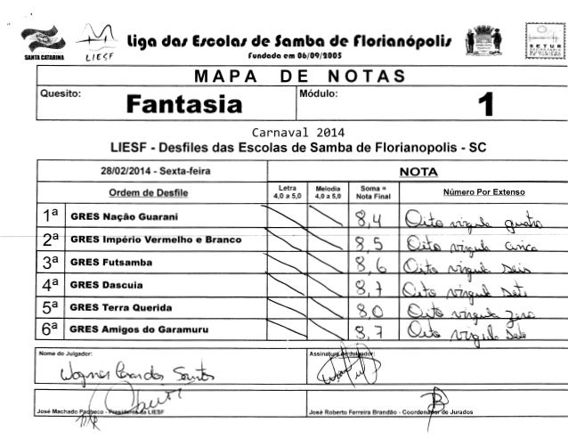~ -~  liga da1 E1cola1 de Samba de notianOpolil  L(~ ~ f  SANTA CATARINA  S C C H f: T A f~! A  MUNIClP~L  (undada em 06/0...