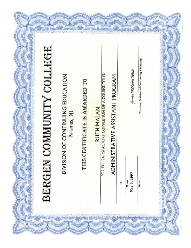 Administrative Assistant Certificate Bergen Community College Nj Usa