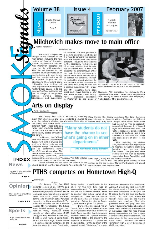 February 2007 pt focus  News  Issue 4  Smoke Signals, Online, Page 3  Monthly Feature: PT Couples Pages 6 & 7  Photo submi...